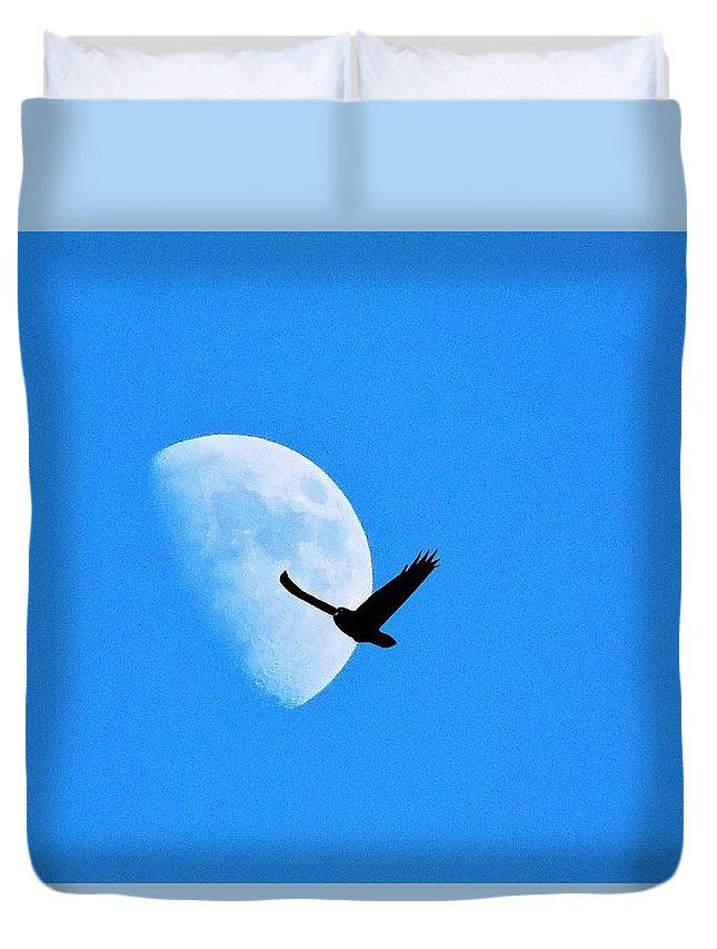 Raven Duvet Cover featuring the photograph Raven Flys Past Quarter Moon by Deborah Moen