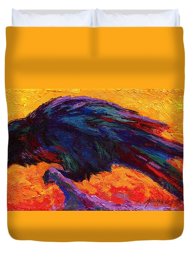 Crows Duvet Cover featuring the painting Raven by Marion Rose