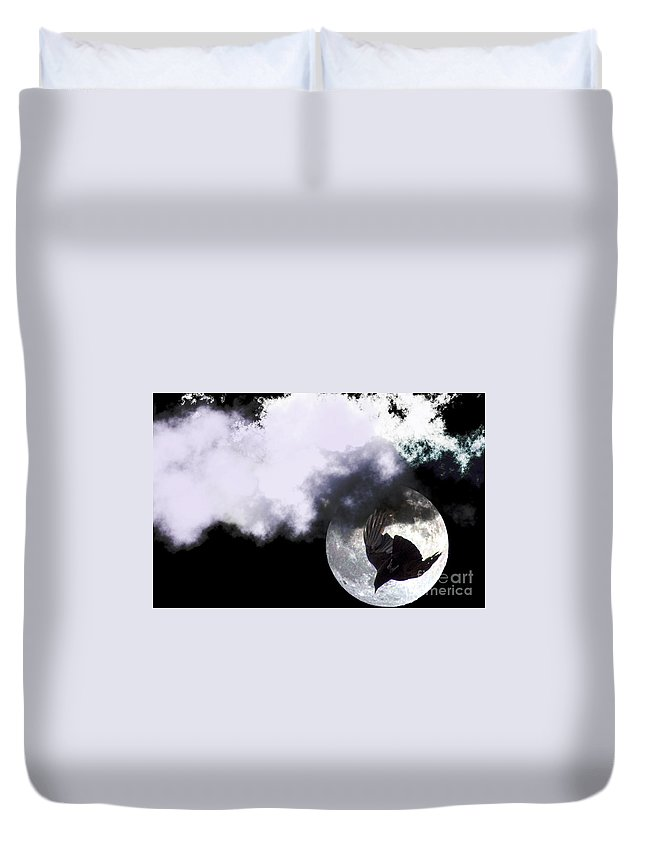 Clay Duvet Cover featuring the photograph Raven Moon by Clayton Bruster