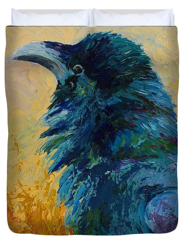 Crows Duvet Cover featuring the painting Raven Study by Marion Rose