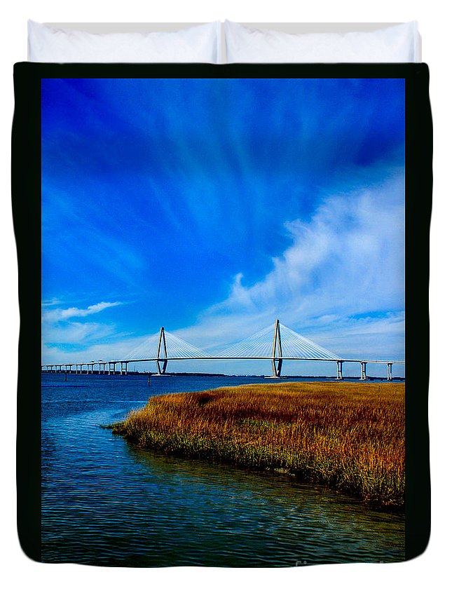 Charleston Duvet Cover featuring the photograph Ravenal Bridge Charleston South Carolina by Tommy Anderson