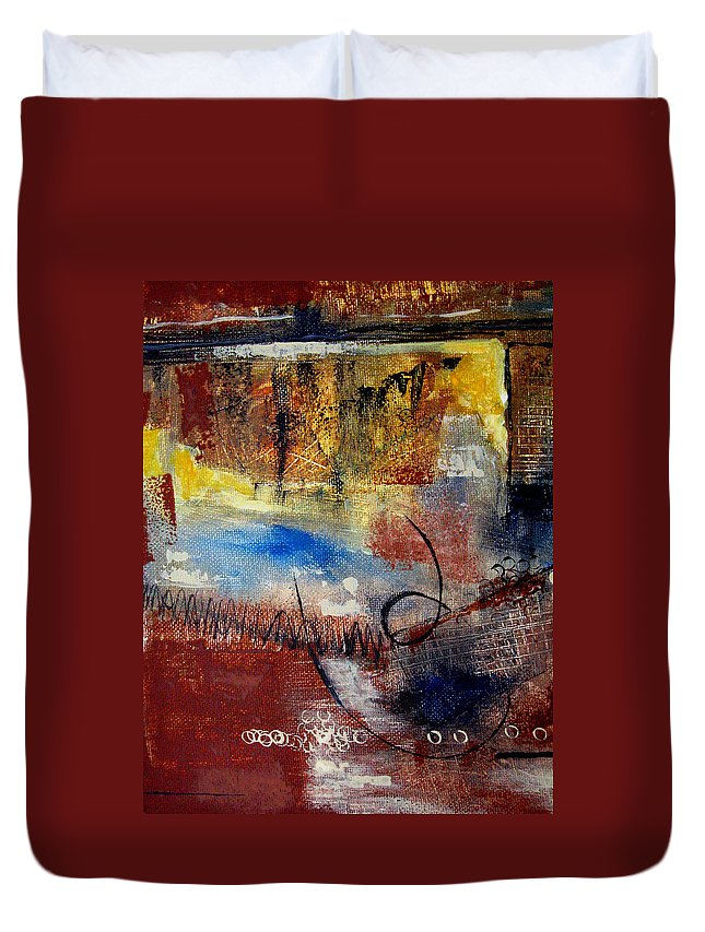 Abstract Duvet Cover featuring the painting Raw Emotions by Ruth Palmer