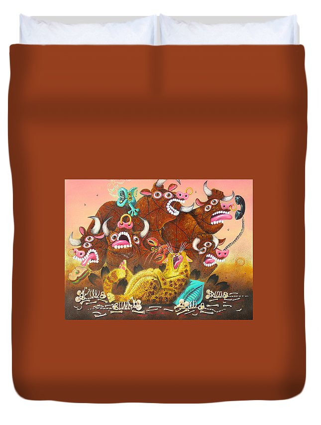 Cat Duvet Cover featuring the painting Rawhide O.d. by Baron Dixon