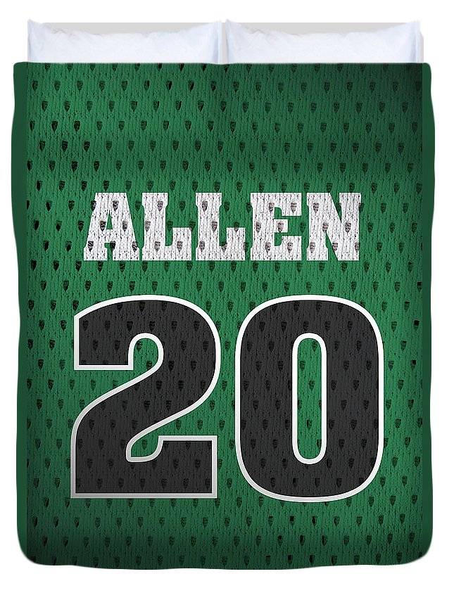Ray Allen Duvet Cover featuring the mixed media Ray Allen Boston Celtics Retro Vintage Jersey Closeup Graphic Design by Design Turnpike