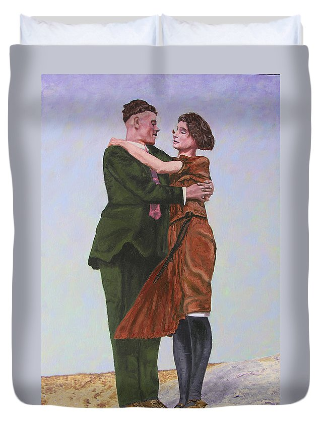 Double Portrait Duvet Cover featuring the painting Ray And Isabel by Stan Hamilton