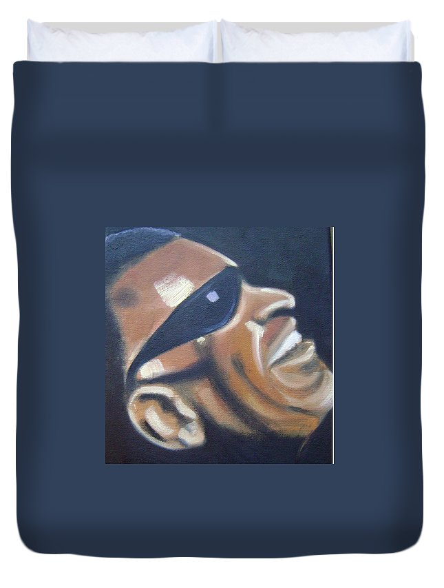 Ray Charles Duvet Cover featuring the painting Ray Charles by Toni Berry