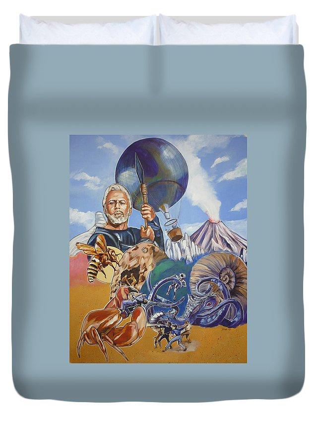 Mysterious Island Duvet Cover featuring the painting Ray Harryhausen Tribute The Mysterious Island by Bryan Bustard