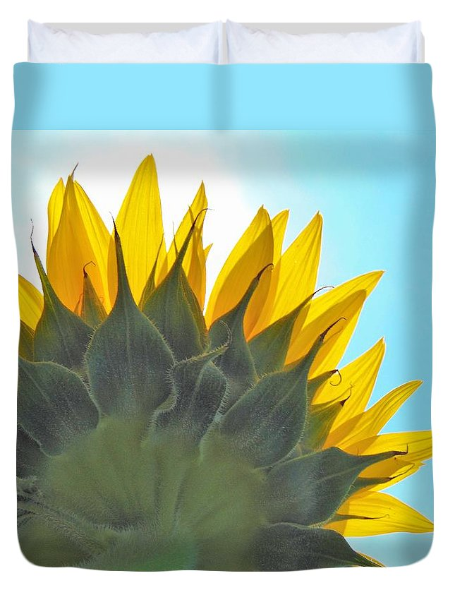 The Bright Blue Heavens Of Kansas Couldn't Out-do The Vibrant Rays Of Sunflower. Duvet Cover featuring the photograph Ray Of Sunflower by Honey Behrens