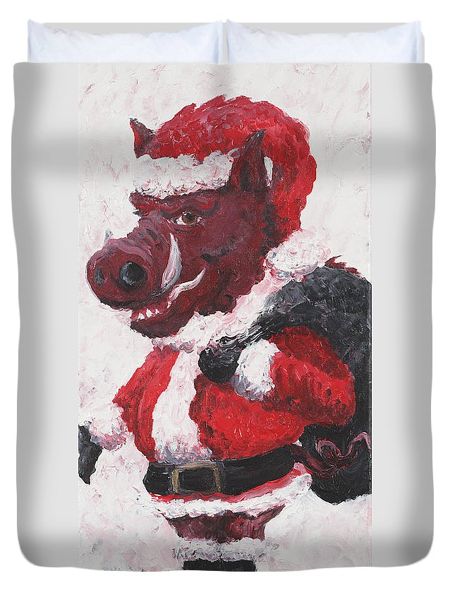 Santa Duvet Cover featuring the painting Razorback Santa by Nadine Rippelmeyer