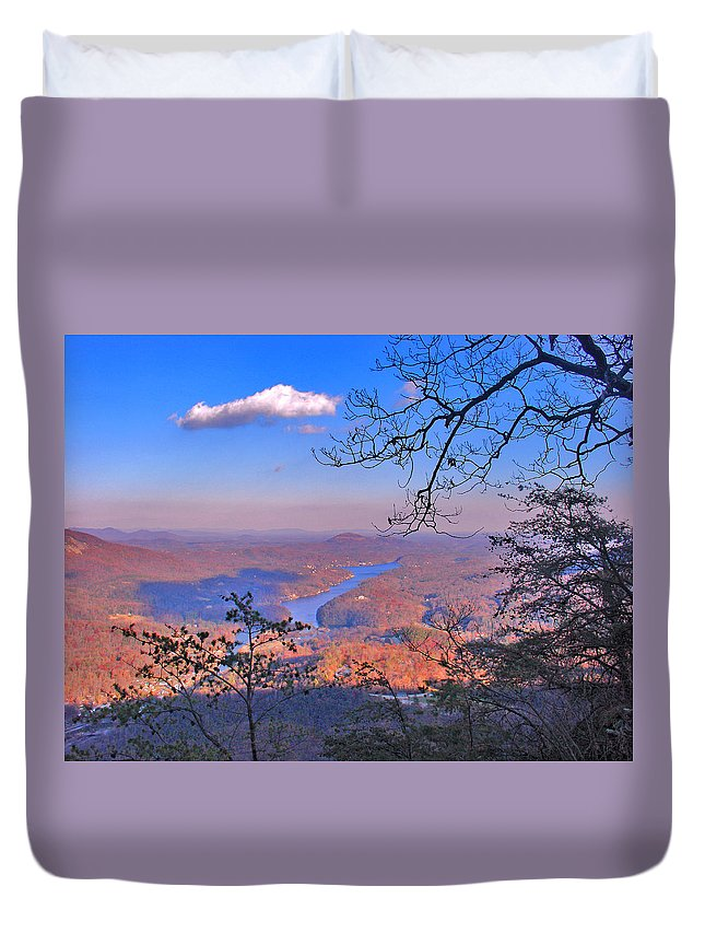 Landscape Duvet Cover featuring the photograph Reaching For A Cloud by Steve Karol