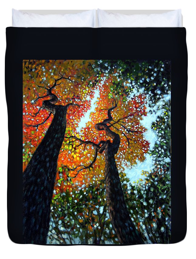 Fall Trees Duvet Cover featuring the painting Reaching For The Light by John Lautermilch