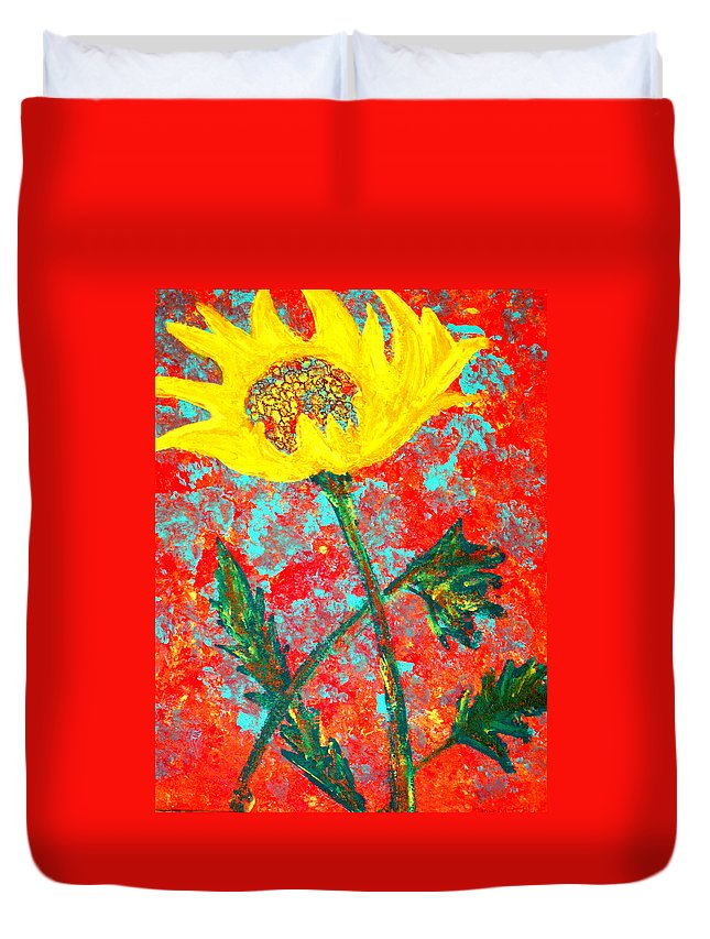 Flower Duvet Cover featuring the painting Reaching For The Sun by Wayne Potrafka