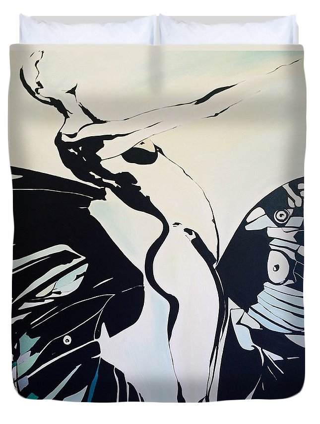 Reach Out Duvet Cover featuring the painting Reaching Out by Ruby Vartan
