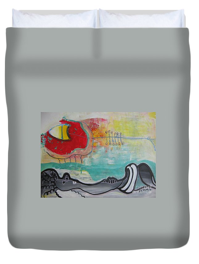Red Paintings Duvet Cover featuring the painting Read My Mind1 by Seon-Jeong Kim