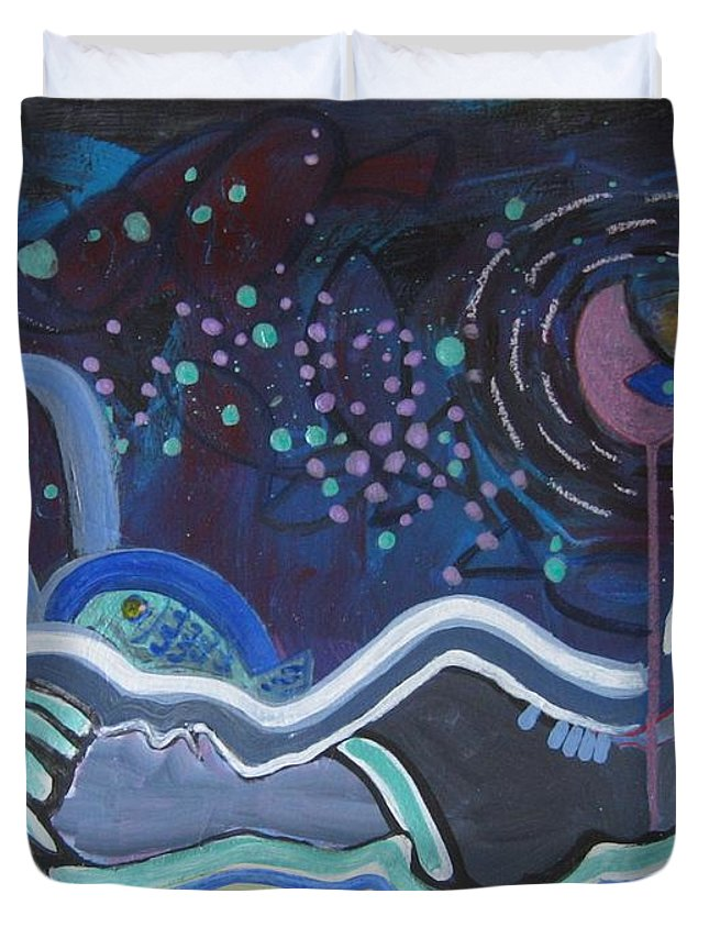 Abstract Paintings Duvet Cover featuring the painting Read My Mind5 by Seon-Jeong Kim
