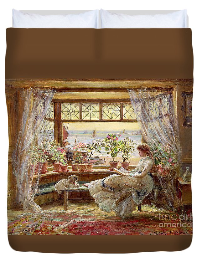Dog Duvet Cover featuring the painting Reading by the Window by Charles James Lewis