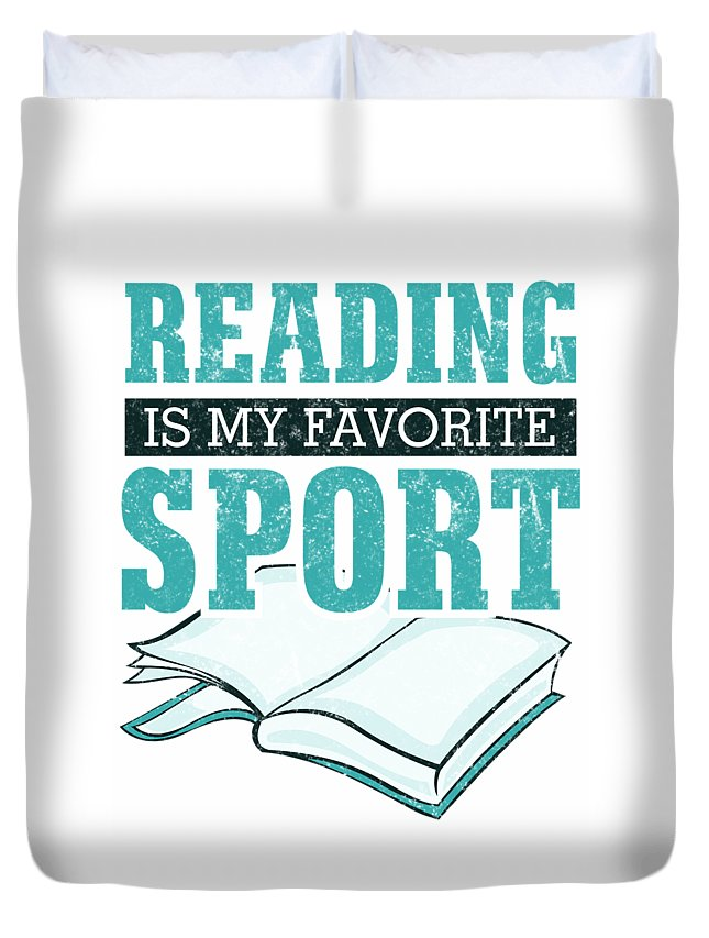 Books-and-coffee Duvet Cover featuring the digital art Reading Is My Favorite Sport Light Blue by Kaylin Watchorn