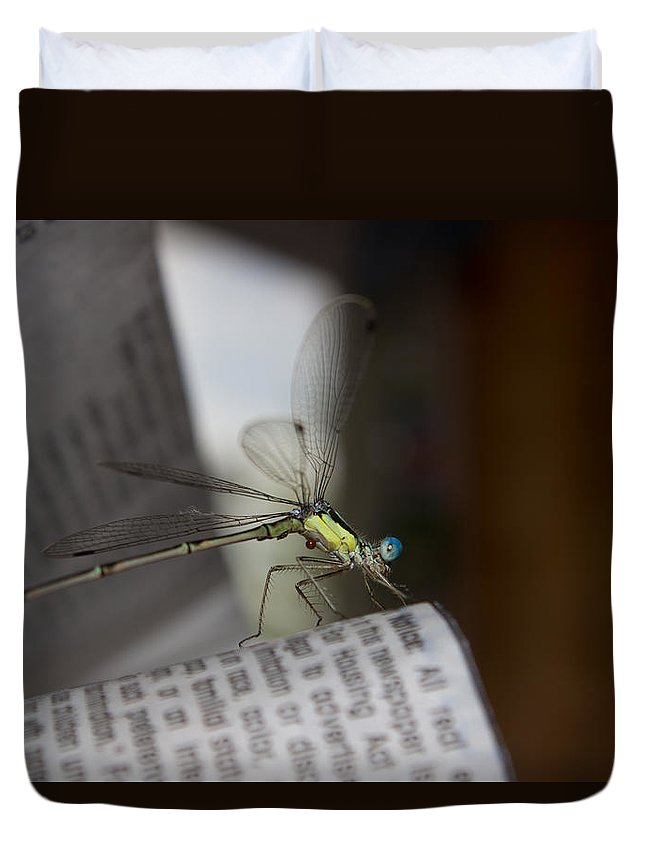 Dragonfly Duvet Cover featuring the photograph Reading The Paper by Sheryl Mayhew