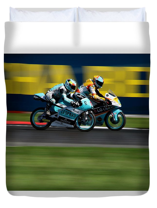 Motogp Duvet Cover featuring the photograph Ready For The Takeover by Perggals - Stacey Turner