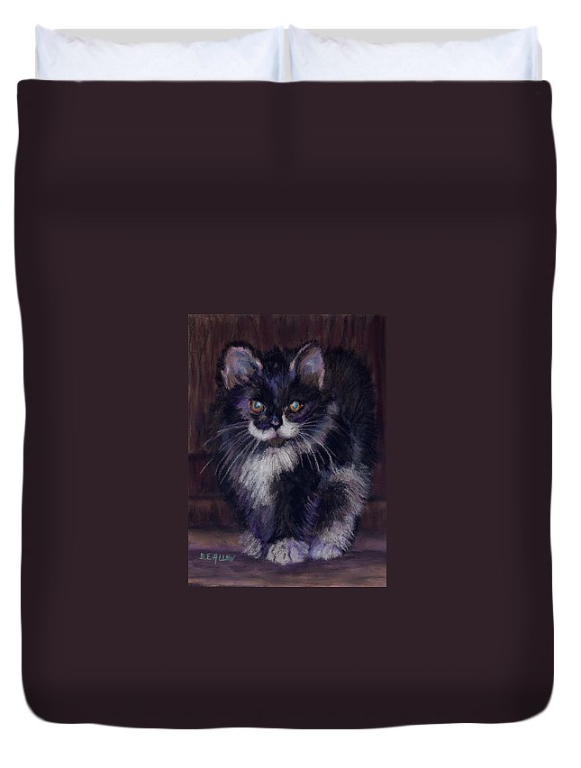 Kitten Duvet Cover featuring the painting Ready For Trouble by Sharon E Allen
