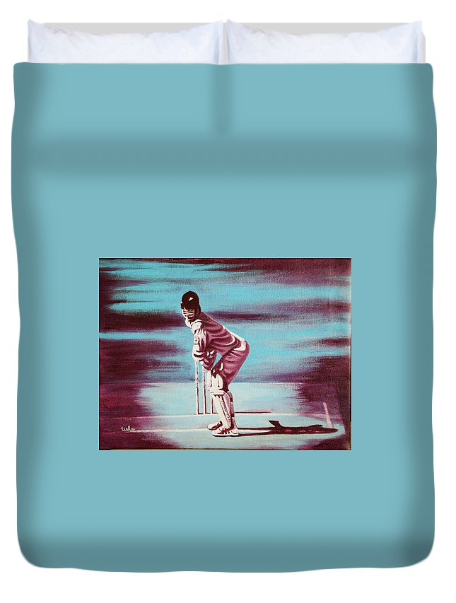 Duvet Cover featuring the painting Ready To Bat by Usha Shantharam
