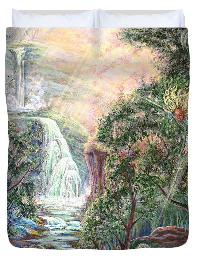Spiritual Duvet Cover featuring the painting Ready To Fly by Joyce Jackson