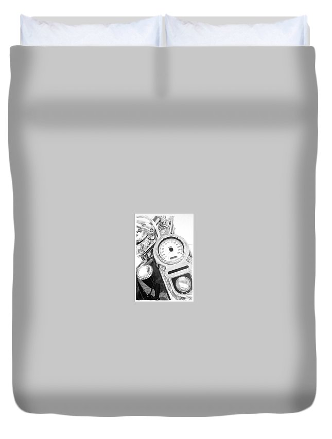 Motorcycle Duvet Cover featuring the drawing Ready To Ride by Stan Cox