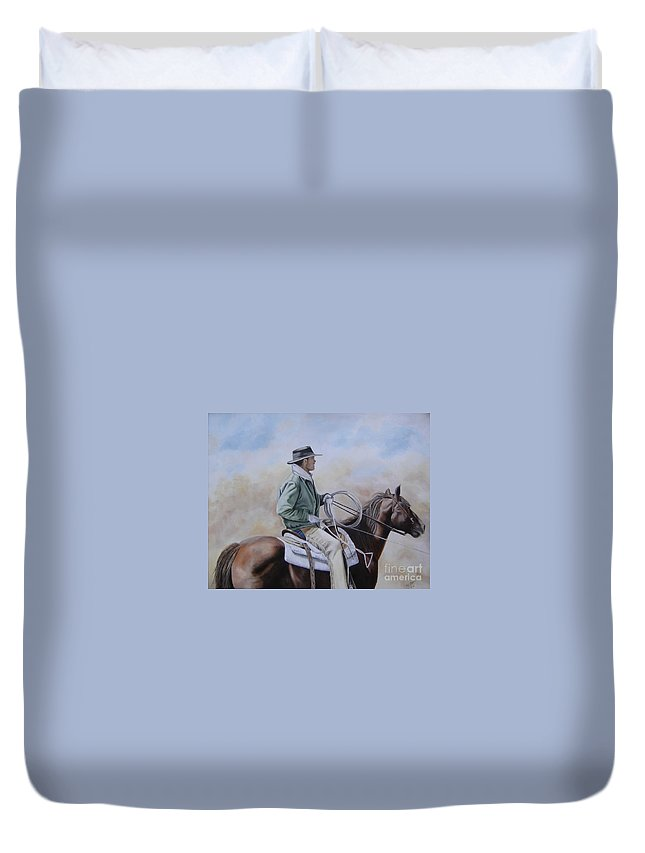 Ranch Duvet Cover featuring the painting Ready To Rope by Mary Rogers