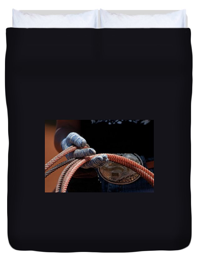 Cowgirl Duvet Cover featuring the photograph Ready To Rope by Roger Mullenhour