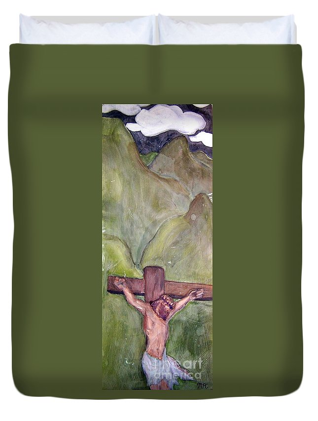 Love Duvet Cover featuring the painting Real Love That Changed Everything by Mary Cullen