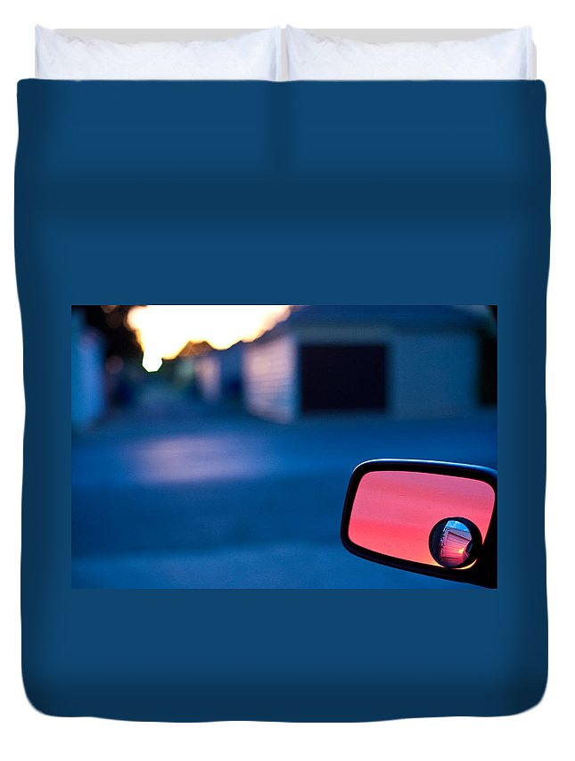 Car Mirror Duvet Cover featuring the photograph Rearview Mirror by Steven Dunn