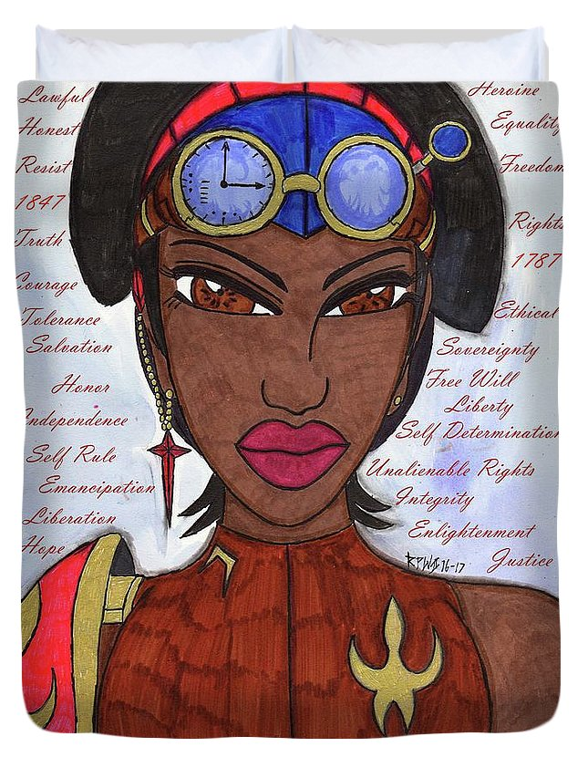 Original Characters Duvet Cover featuring the mixed media Reasons Of A Steampunk Liberator by Ronald Woods