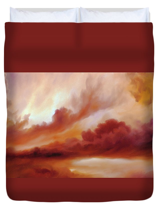 Skyscape Duvet Cover featuring the painting Receding Storm Sketch IIi by James Christopher Hill