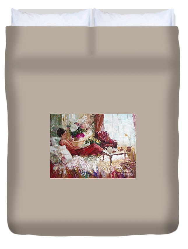 Art Duvet Cover featuring the painting Recent news by Sergey Ignatenko