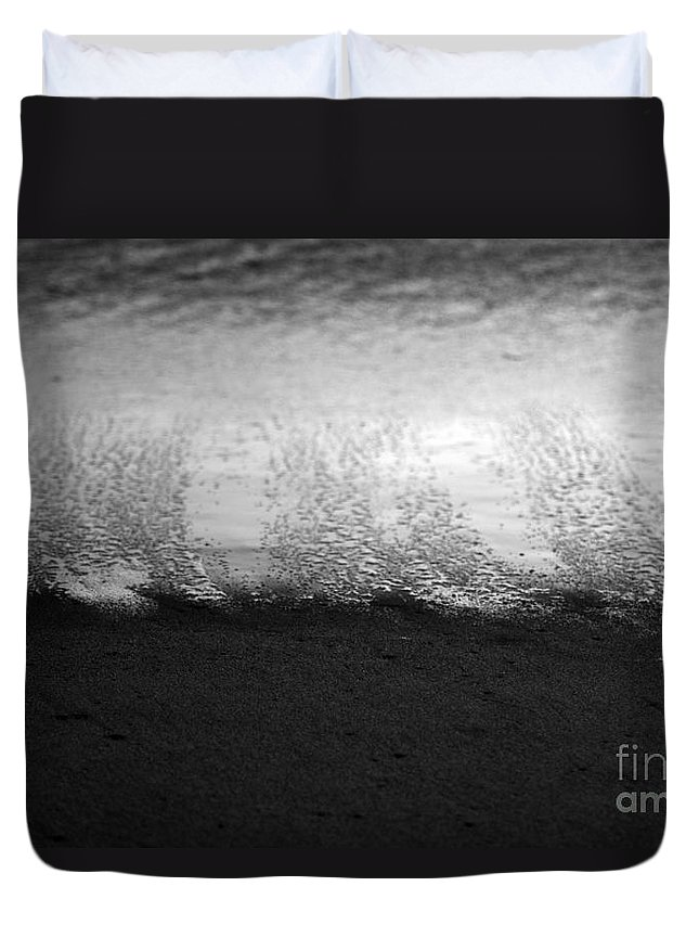 black And White Duvet Cover featuring the photograph Recession by Amanda Barcon