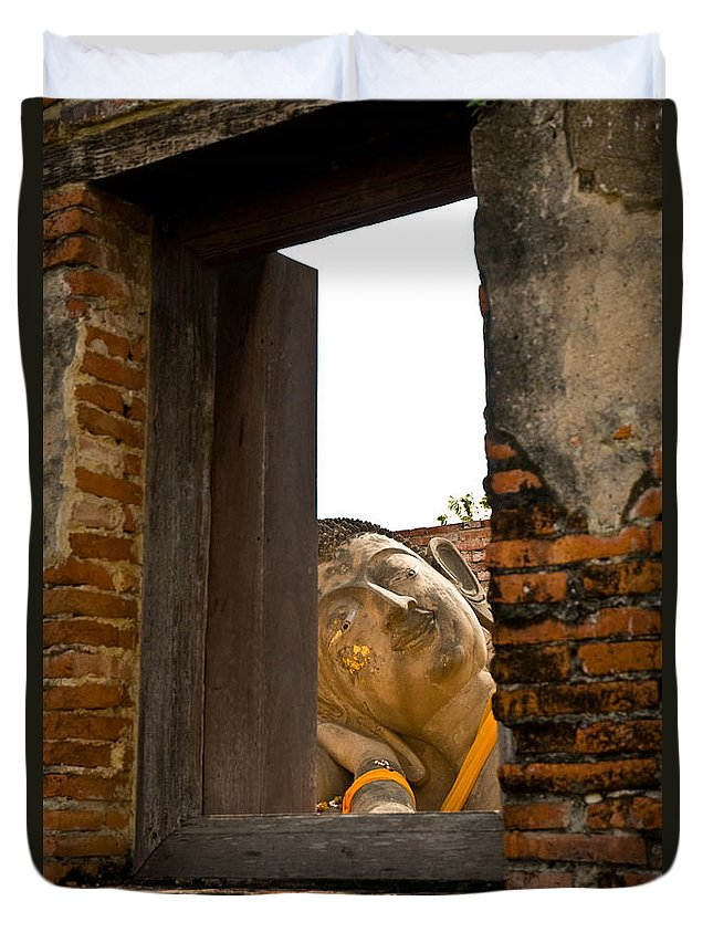 Ancient Duvet Cover featuring the photograph Reclining Buddha View Through A Window by U Schade