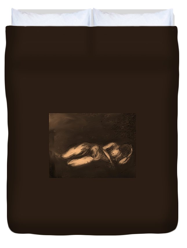Nude Duvet Cover featuring the drawing Reclining by Ian MacDonald