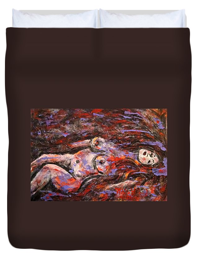 Nude Duvet Cover featuring the painting Reclining Nude by Natalie Holland