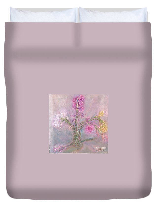 Pink Duvet Cover featuring the painting Recollection Of The Dreamy Bloom by Sukalya Chearanantana