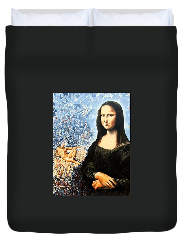 Surrealism Duvet Cover featuring the painting Reconstruction Of High Renaissance by Darwin Leon