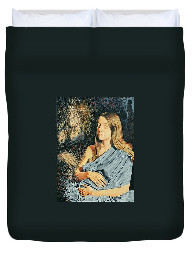 Surrealism Duvet Cover featuring the painting Reconstruction Of The Classical Madonna by Darwin Leon