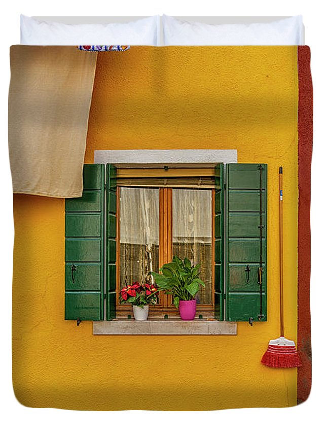Burano Duvet Cover featuring the photograph Rectangle Iterations Broom And Laundry Burano_dsc5134_03042017 by Greg Kluempers