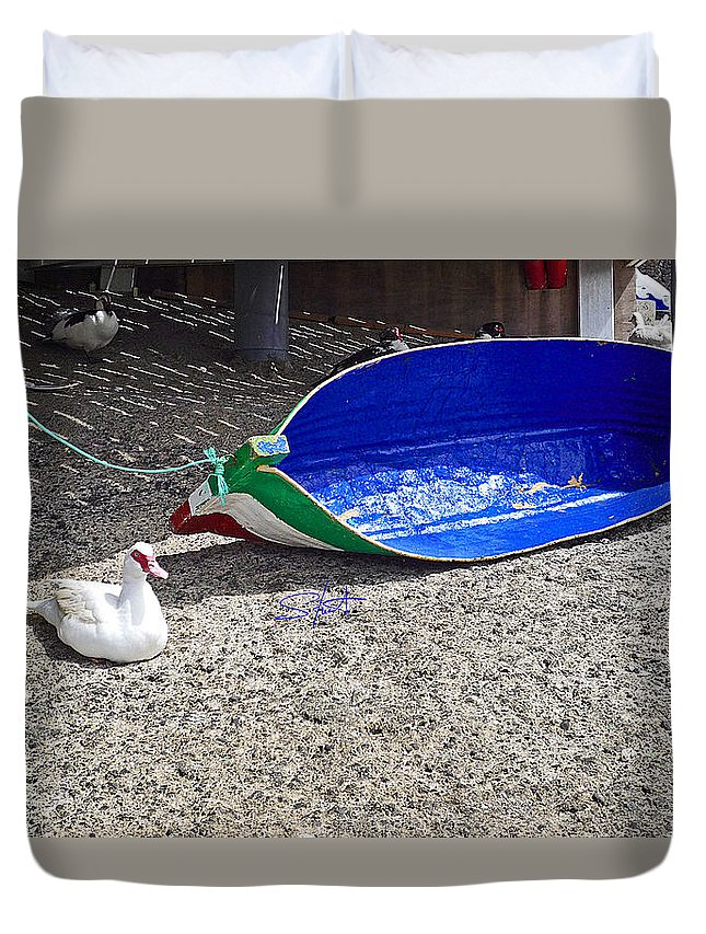 Boat Duvet Cover featuring the photograph Recycled Oil Drum On Hard by Charles Stuart