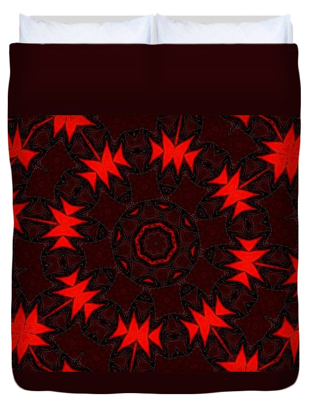 Fine Art Duvet Cover featuring the digital art Red Abstract 031211 by David Lane