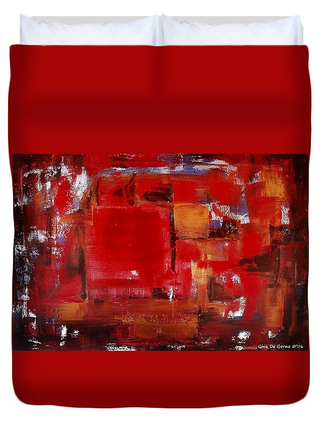 Abstract Duvet Cover featuring the painting Red Abstract by Gina De Gorna