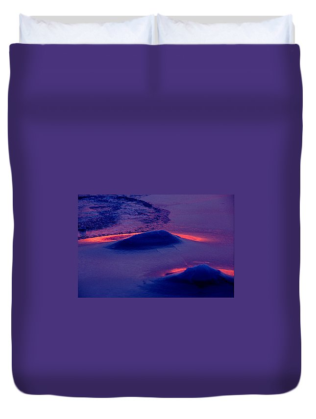 Sunset Duvet Cover featuring the photograph Red Alert by Michael Mogensen