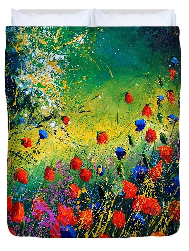 Flowers Duvet Cover featuring the painting Red And Blue Poppies by Pol Ledent