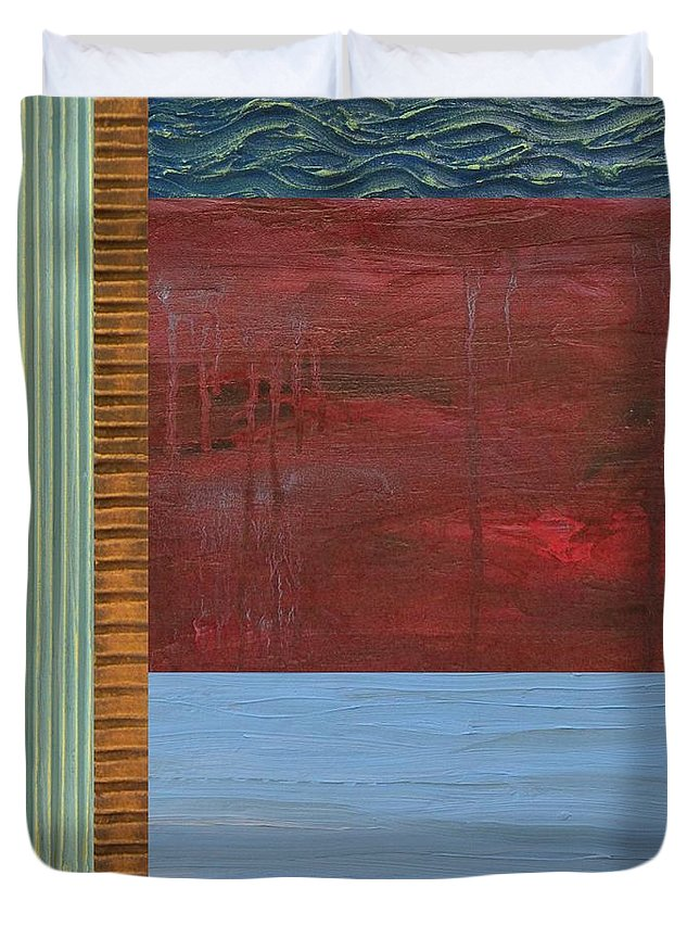 Lake Duvet Cover featuring the painting Red and Blue Study by Michelle Calkins