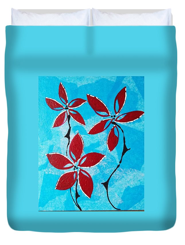 Duvet Cover featuring the painting Red And Blue by Vivi Li