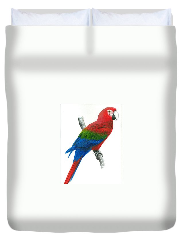 Chris Cox Duvet Cover featuring the painting Red And Green Macaw by Christopher Cox